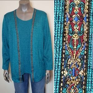 Vtg. Dress Savvy NY Embellished Turquoise Blouse